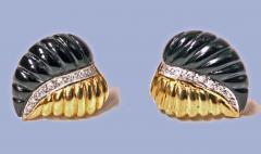 Pair of Gold Diamond Onyx Leaf Earrings - 1263590