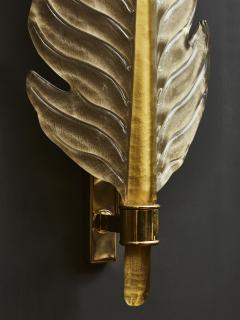 Pair of Gold Tinted Murano Glass Leaves Wall Sconces with Brass Setting - 1663884