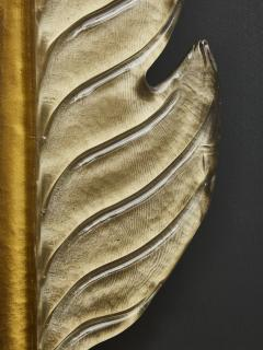 Pair of Gold Tinted Murano Glass Leaves Wall Sconces with Brass Setting - 1663885