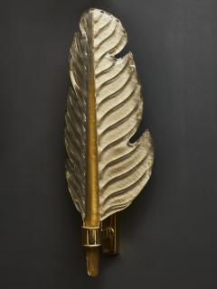 Pair of Gold Tinted Murano Glass Leaves Wall Sconces with Brass Setting - 1663887