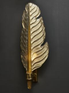 Pair of Gold Tinted Murano Glass Leaves Wall Sconces with Brass Setting - 1663888