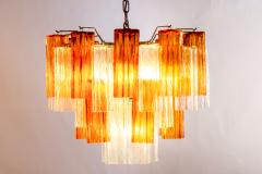 Pair of Gold and Ice Tronchi Murano Glass Chandelier by Venini 1970s - 1266888