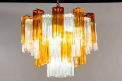 Pair of Gold and Ice Tronchi Murano Glass Chandelier by Venini 1970s - 1266889