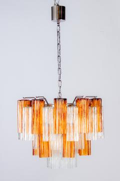 Pair of Gold and Ice Tronchi Murano Glass Chandelier by Venini 1970s - 1266892