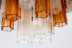 Pair of Gold and Ice Tronchi Murano Glass Chandelier by Venini 1970s - 1266894