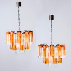 Pair of Gold and Ice Tronchi Murano Glass Chandelier by Venini 1970s - 1266895