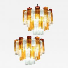 Pair of Gold and Ice Tronchi Murano Glass Chandelier by Venini 1970s - 1267658