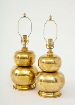 Pair of Gourd Brass Lamps - 1933922