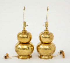 Pair of Gourd Brass Lamps - 1933925