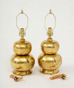 Pair of Gourd Brass Lamps - 1933926