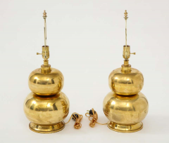Pair of Gourd Brass Lamps - 1933927