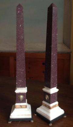 Pair of Grand Tour Egyptian Porphyry Obelisks 19th Century - 594459