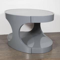 Pair of Graphic Modernist Gray Lacquered Two Tiered Oval Side Tables - 1522737