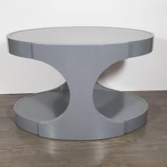 Pair of Graphic Modernist Gray Lacquered Two Tiered Oval Side Tables - 1522739