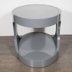 Pair of Graphic Modernist Gray Lacquered Two Tiered Oval Side Tables - 1522740
