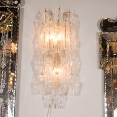 Pair of Handblown Murano Glass Polyhedral Sconces with Brass Fittings - 1579359