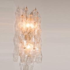 Pair of Handblown Murano Glass Polyhedral Sconces with Brass Fittings - 1579360