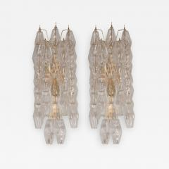 Pair of Handblown Murano Glass Polyhedral Sconces with Brass Fittings - 1580289