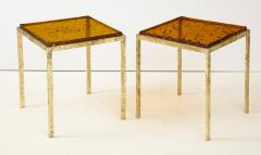 Pair of Handmade Textured Brass and Gold Fractal Resin Top Side Tables Italy - 1614966