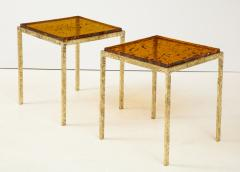 Pair of Handmade Textured Brass and Gold Fractal Resin Top Side Tables Italy - 1614968