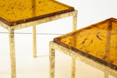 Pair of Handmade Textured Brass and Gold Fractal Resin Top Side Tables Italy - 1614969
