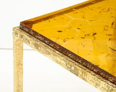 Pair of Handmade Textured Brass and Gold Fractal Resin Top Side Tables Italy - 1614972