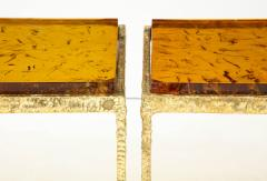 Pair of Handmade Textured Brass and Gold Fractal Resin Top Side Tables Italy - 1614973