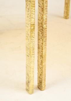 Pair of Handmade Textured Brass and Gold Fractal Resin Top Side Tables Italy - 1614974