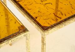Pair of Handmade Textured Brass and Gold Fractal Resin Top Side Tables Italy - 1614975