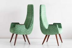 Pair of High Back Armchairs in Green Braqueni Velvet and Weng Wood 1950s - 1718884