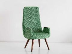 Pair of High Back Armchairs in Green Braqueni Velvet and Weng Wood 1950s - 1718885