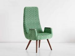 Pair of High Back Armchairs in Green Braqueni Velvet and Weng Wood 1950s - 1718886