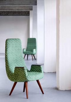Pair of High Back Armchairs in Green Braqueni Velvet and Weng Wood 1950s - 1718887