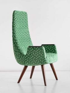Pair of High Back Armchairs in Green Braqueni Velvet and Weng Wood 1950s - 1718889