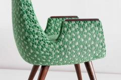 Pair of High Back Armchairs in Green Braqueni Velvet and Weng Wood 1950s - 1718890