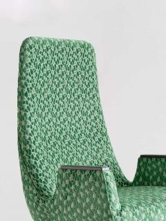 Pair of High Back Armchairs in Green Braqueni Velvet and Weng Wood 1950s - 1718891