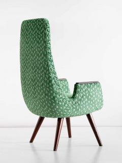 Pair of High Back Armchairs in Green Braqueni Velvet and Weng Wood 1950s - 1718892