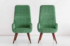 Pair of High Back Armchairs in Green Braqueni Velvet and Weng Wood 1950s - 1718893