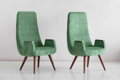 Pair of High Back Armchairs in Green Braqueni Velvet and Weng Wood 1950s - 1718894