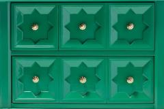 Pair of Hollywood Regency Moroccan Modern Nightstands in Green Lacquer c 1965 - 2118766