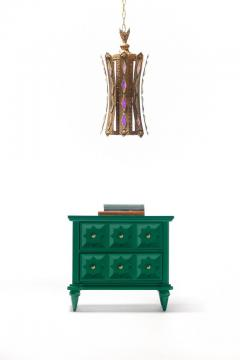 Pair of Hollywood Regency Moroccan Modern Nightstands in Green Lacquer c 1965 - 2118773