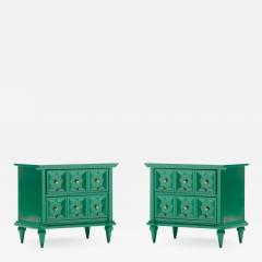 Pair of Hollywood Regency Moroccan Modern Nightstands in Green Lacquer c 1965 - 2119614