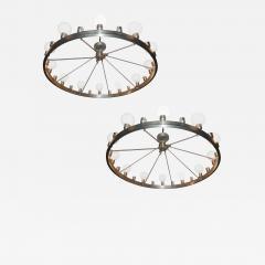 Pair of Huge Industrial 24 light Chandelier - 983147