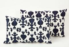 Pair of Ikat Inspired Blue and Cream Pillows - 1502609