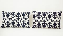 Pair of Ikat Inspired Blue and Cream Pillows - 1502610