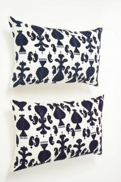 Pair of Ikat Inspired Blue and Cream Pillows - 1502613