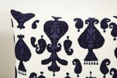 Pair of Ikat Inspired Blue and Cream Pillows - 1502614