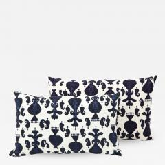 Pair of Ikat Inspired Blue and Cream Pillows - 1505963