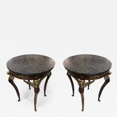 Pair of Imperial Style Side Tables with Black Marble Tops - 1059214