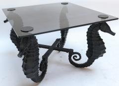 Pair of Iron Seahorse Side Tables with Smoked Glass Tops - 461517